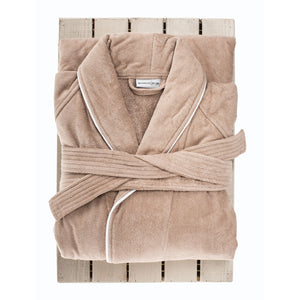 Latte Collared Towelling Bath Robe by Beaumont & Brown