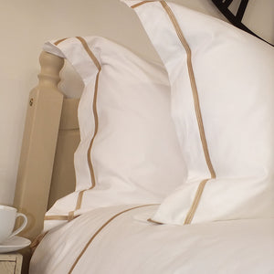 Latte Cross Border Pillowcases by Beaumont & Brown