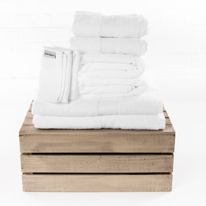 Pure white cotton towels by Beaumont & Brown