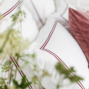 Red 2 Row Cord Pillowcases from Beaumont & Brown