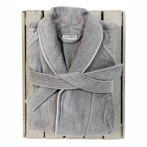 Silver Collared Bath Robe by Beaumont & Brown