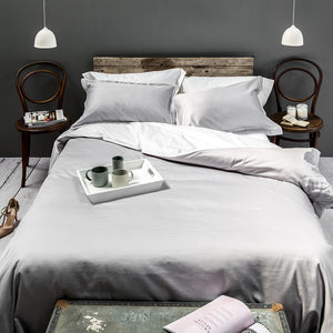 Silver Grey Cross Border Duvet Cover from Beaumont & Brown