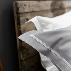 Silver Grey Cross Border Pillow Cases from Beaumont & Brown