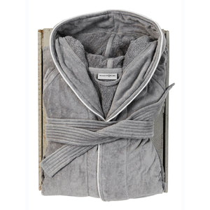 Silver Hooded Bath Robe by Beaumont & Brown
