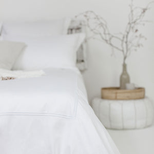 White 2 Row Cord Duvet Cover from Beaumont & Brown