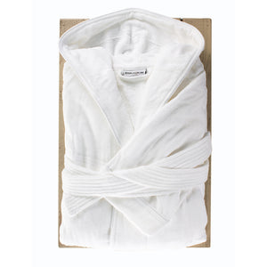 White Hooded Bath Robe by Beaumont & Brown