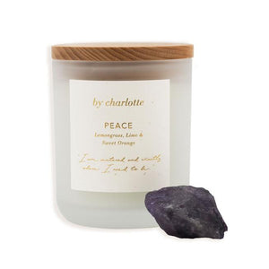 BY CHARLOTTLE - PEACE AFFIRMATION CANDLE -Lemongrass, Lime and Sweet Orange.