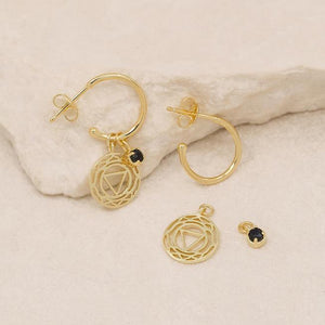 GOLD THIRD EYE CHAKRA HOOPS - I CREATE MY REALITY