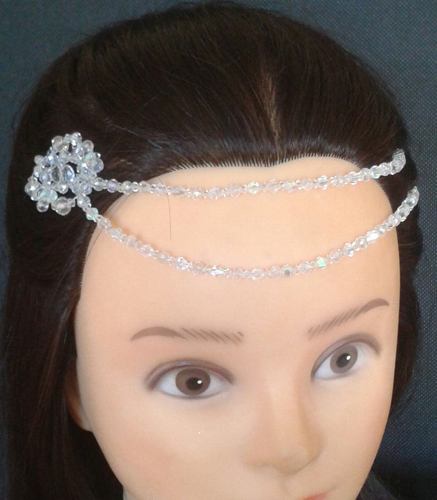 Beautiful handmade Glass Crystal Head Chain/ Forehead Embellishment, Boho Bride, eye catching unique.