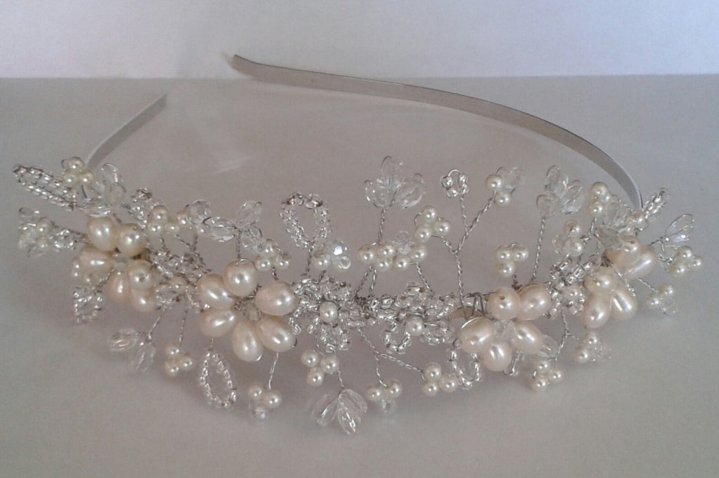 Beautiful handmade Bridal Side-Tiara Ivory Freshwater Pearls /Glass Crystal mix
