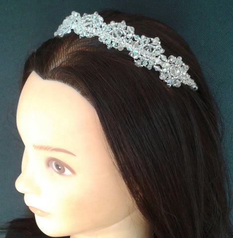 Beautiful handmade 'Crystal Circle' Tiara/ Hairband created with Glass AB Crystal mix with Seed beads and silver plated band base