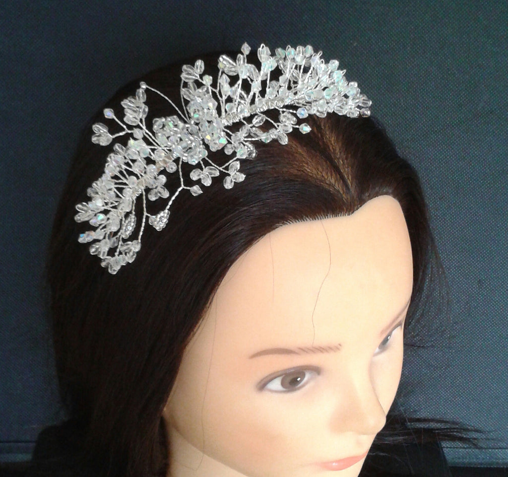 Beautiful handmade 'Butterfly' Side-Tiara/ Hairband created with Glass AB & Swarovski Crystal mix with Seed beads and silver plated band base