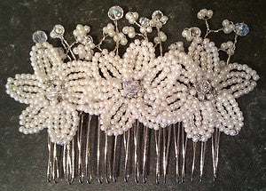 Wedding bridal haircomb decorated with 3x beautiful handmade lvory-Cream 'French beaded flowers' with crystal centers + seed bead 'blossom'