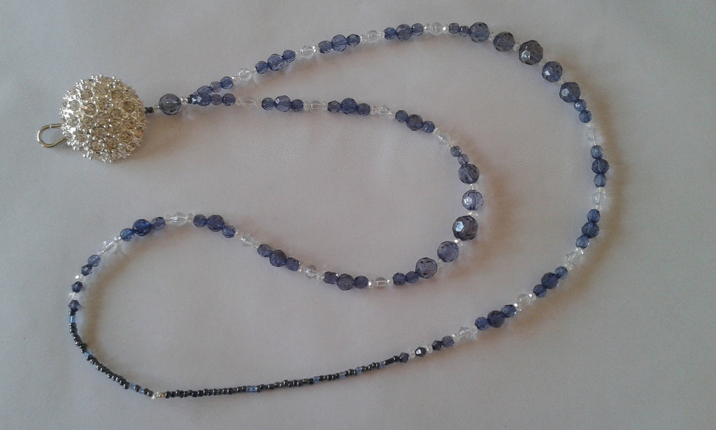 Pretty hand made Navy blue and clear crystal mix, with silver diamante button detail. Lanyard ID/passholder