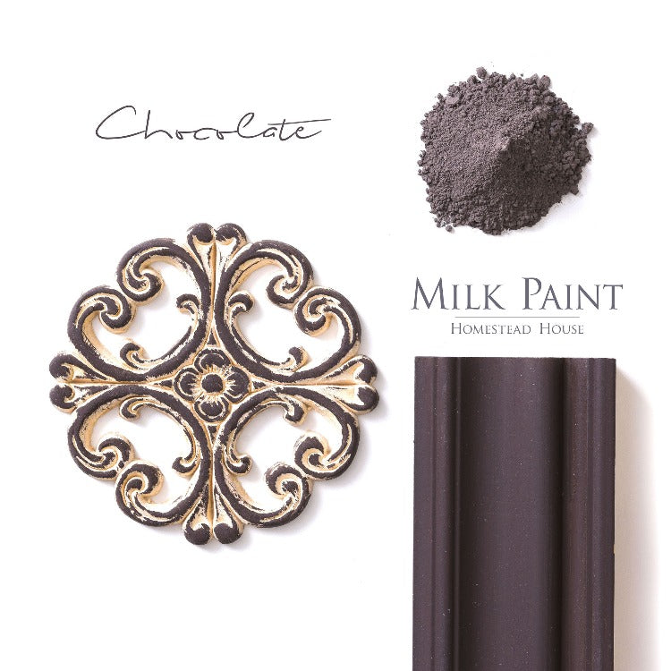 Homestead House Milk Paint | Chocolate paint samples on a white background.