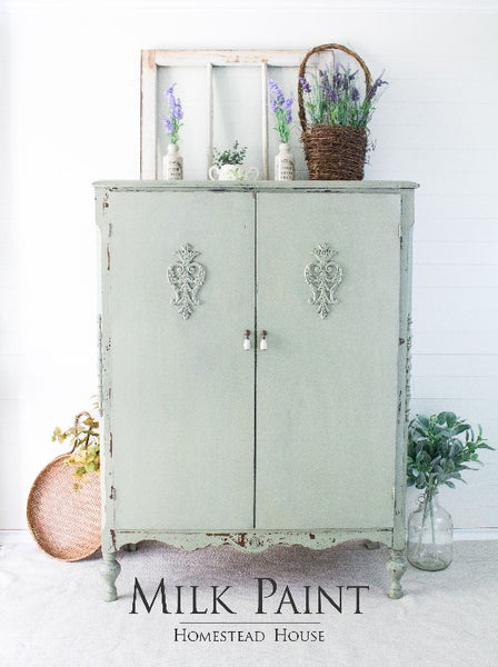 Milk Paint Homestead House | Cartier painted cupboard in dining room setting.