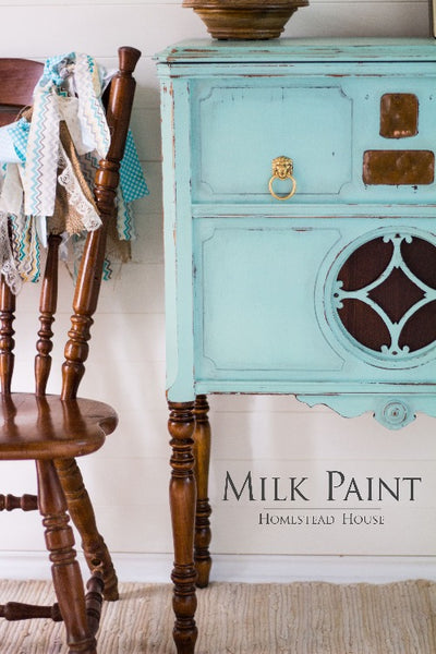 Milk Paint Homestead House | Laurentien painted dresser in a dining room setting.