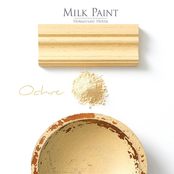 Homestead House Milk Paint | Ochre paint samples on white background.