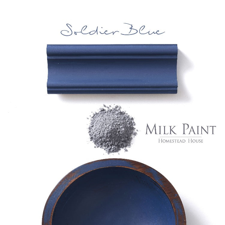 Homestead House Milk Paint | Soldier Blue paint samples on a white background.