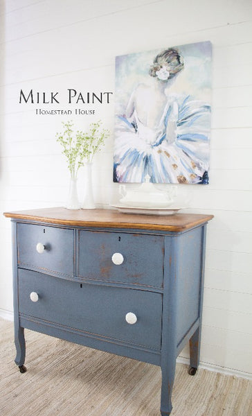 Milk Paint Homestead House | Rideau Blue dresser in a living room setting.
