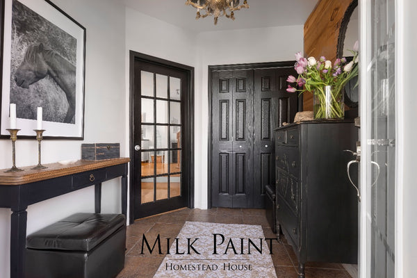 Milk Paint Homestead House | Coal Black painted entry way furniture.