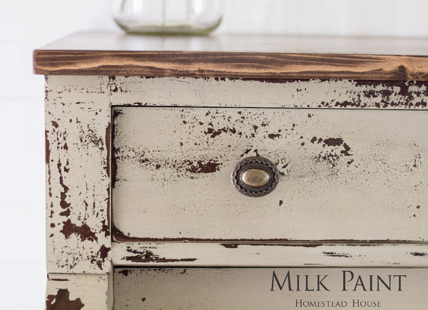 Milk Paint Homestead House | Algonquin painted dresser in living room setting.