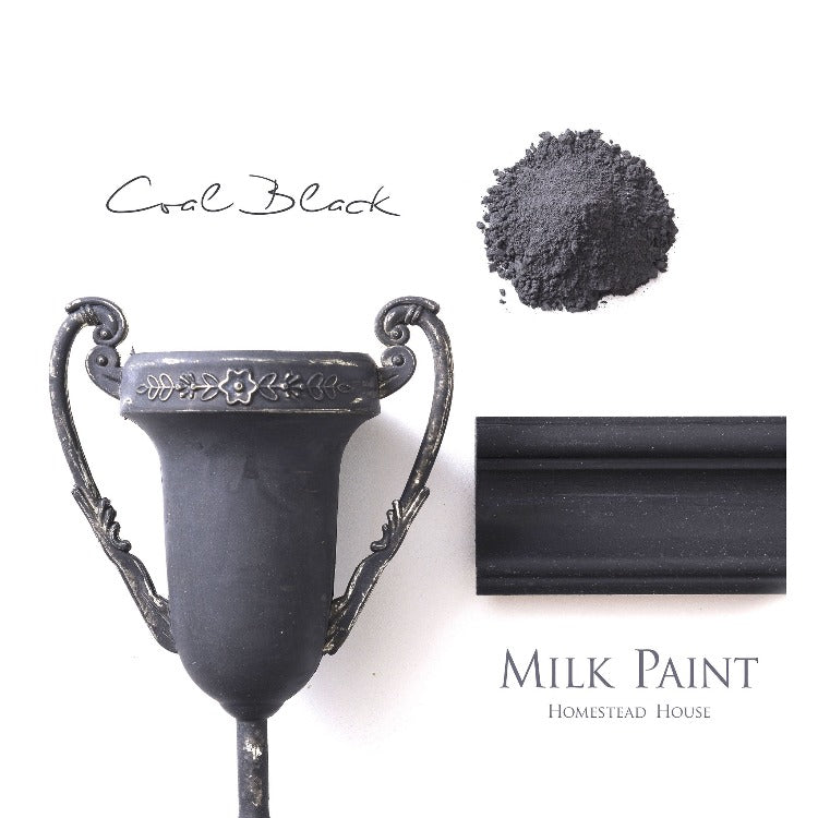 Homestead House Milk Paint | Coal Black paint samples on a white background.