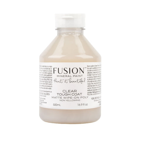 Fusion Mineral Paint | Clear Tough Coat Bottle on white background.