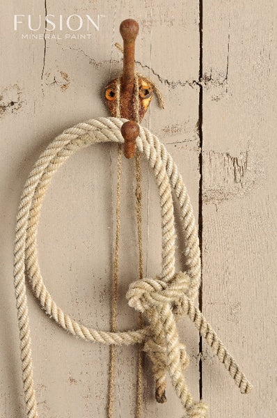 Fusion Mineral Paint | Rope hanging on wall painted with Algonquin