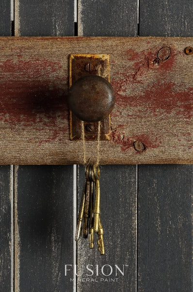Fusion Mineral Paint |Door handle with keys hanging off, background painted in ash.