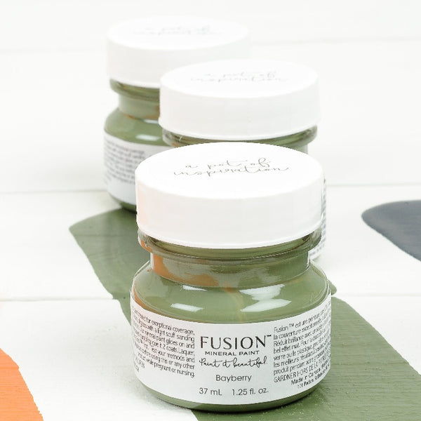 Fusion Mineral Paint | Three small jars of Bayberry on a white background with a paint streak down the middle.