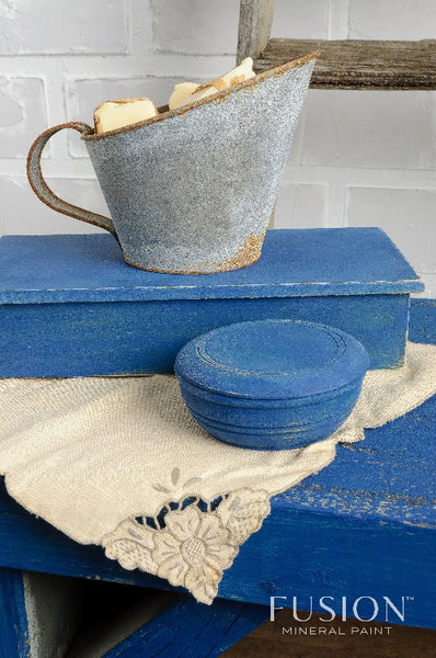 Fusion Mineral Paint | Liberty Blue Painted table, bowl and box with metal measuring cup.