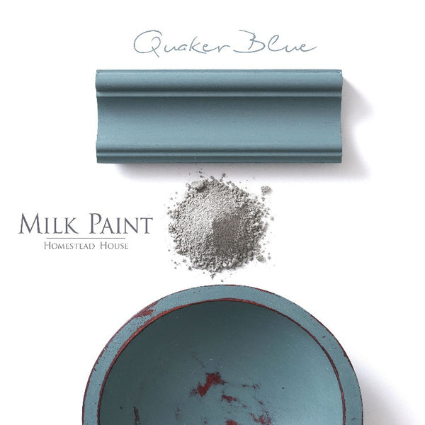 Homestead House Milk Paint | Quaker Blue paint samples on a white background.