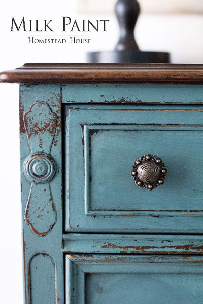 Milk Paint Homestead House | Quaker Blue painted dresser in a living room setting.