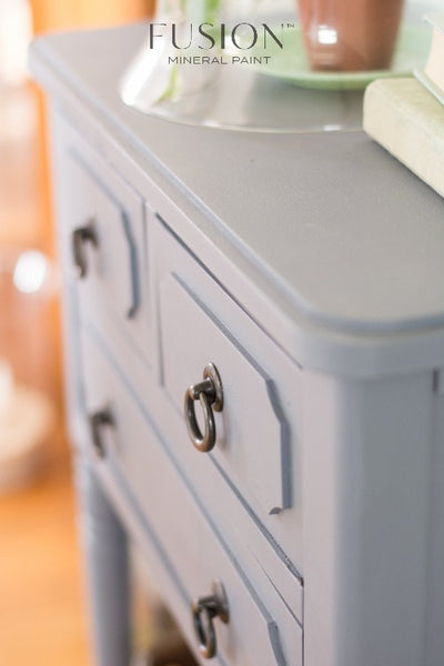 Fusion Mineral Paint | Dresser painted in Soapstone with other decor.