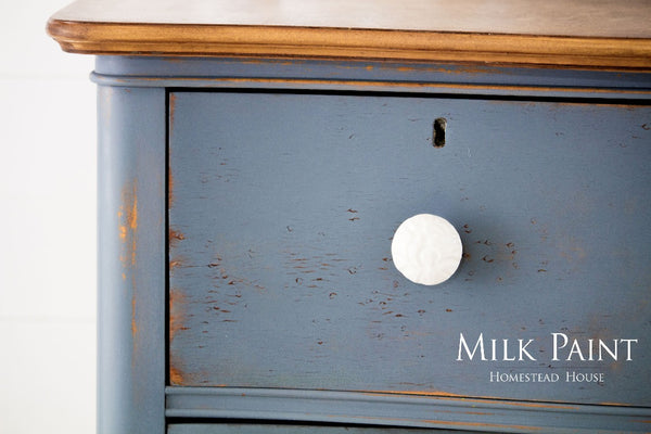 Milk Paint Homestead House | Rideau Blue painted dresser on a white background.