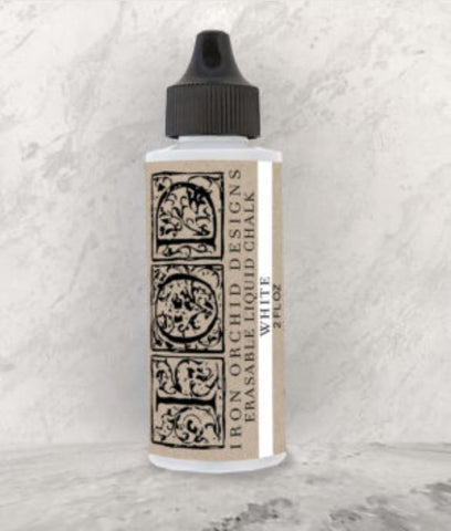 Iron Orchid Design | White Erasable Chalk bottle on white background.