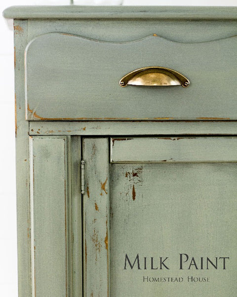 Milk Paint Homestead House | Acadia Pear painted dresser in living room setting.