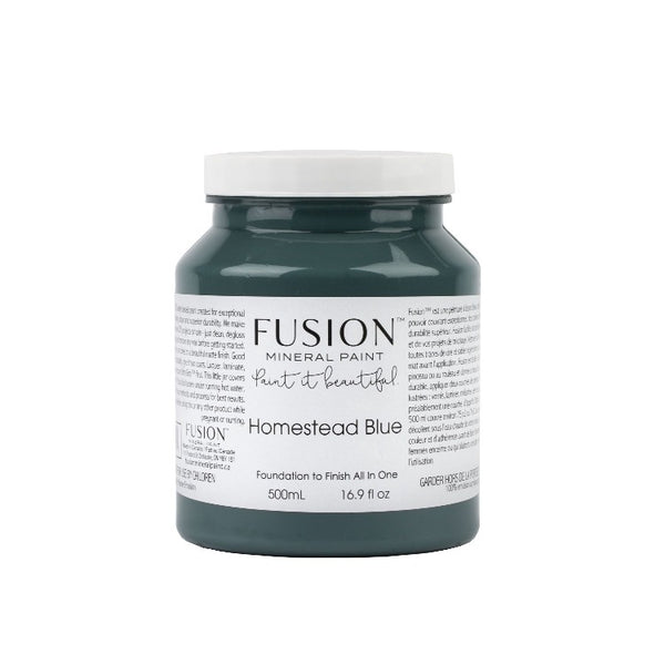 Fusion Mineral Paint | Homestead Blue on white background.