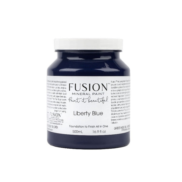 Fusion Mineral Paint | Liberty Blue on white background.