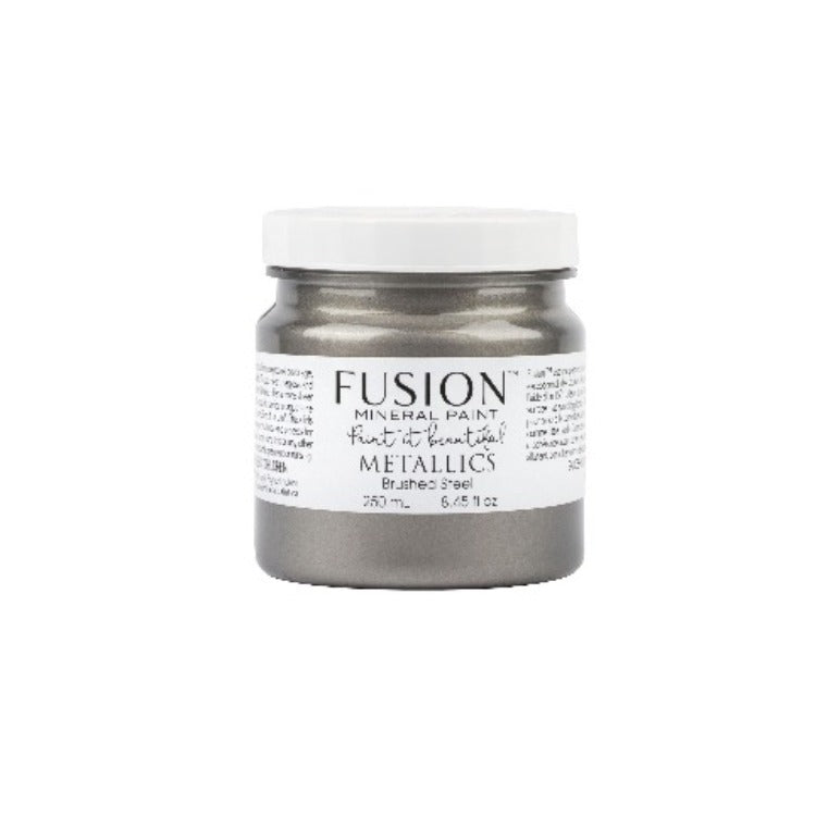 Fusion Metallic | Brushed Steel jar on white background.