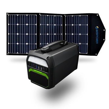 ACOPOWER 500W Generator and 120W Portable Solar Panel Kit