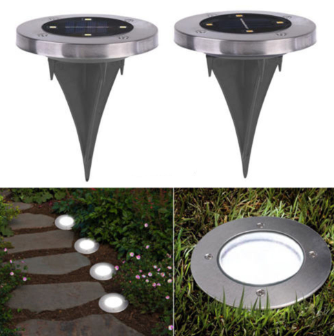4-LED Solar Powered Path Way Garden Buried Lawn  Spikes