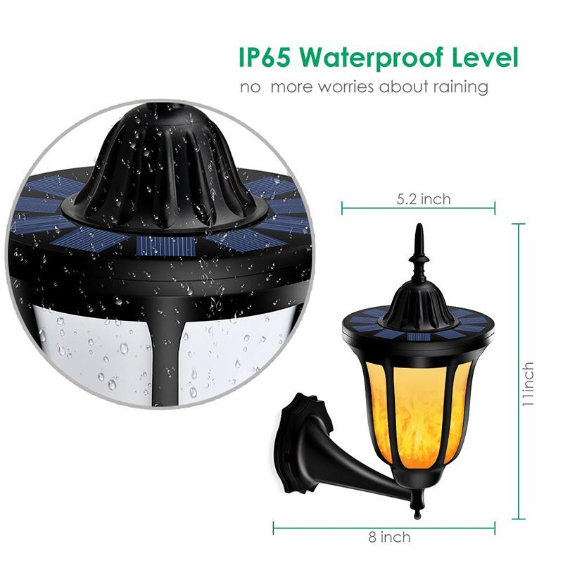 LED Flickering Flames Solar Torch Wall Light