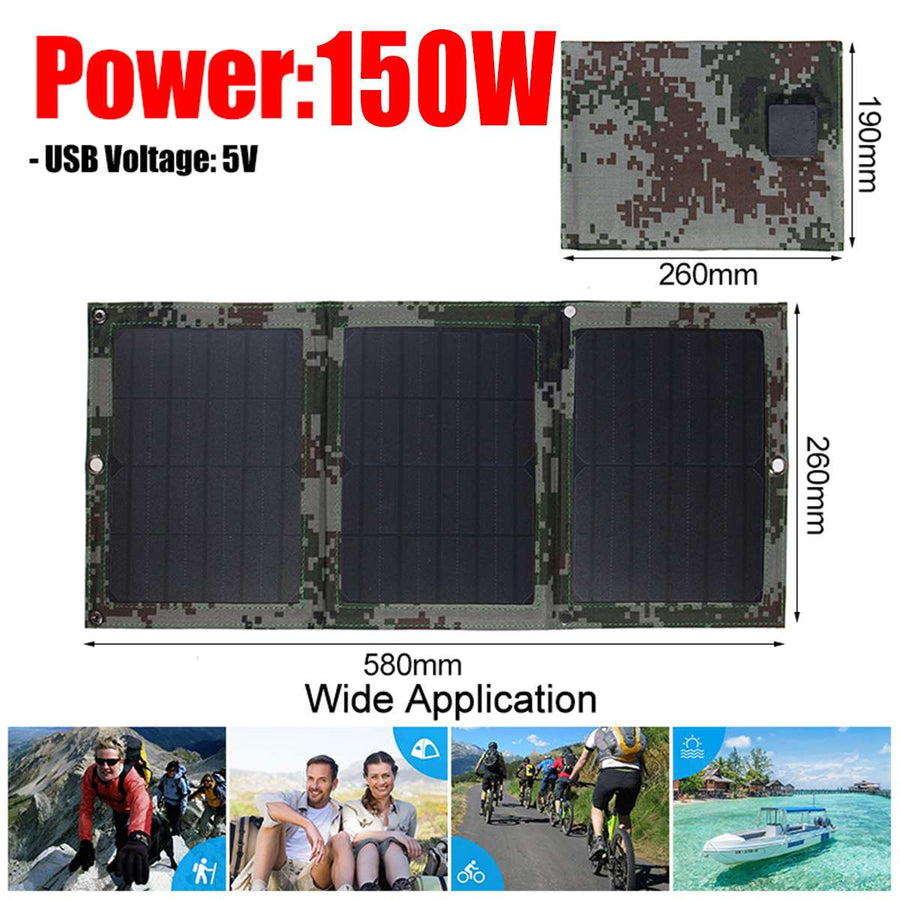 Foldable 150W 5V Dual USB Solar Panel Portable Folding Solar Cell Waterproof Solar Panel Charger Mobile Power Battery Charger