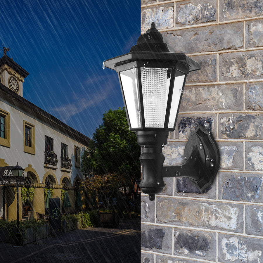Waterproof Solar Wall Lamp Hexagonal Cool White