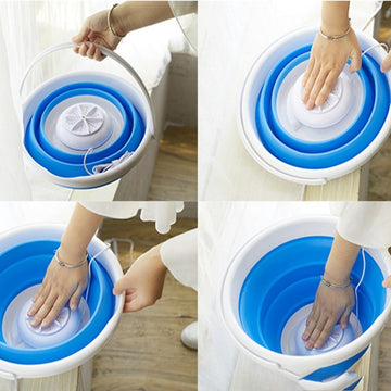 Portable Ultrasonic Turbine Foldable Washing Machine for Home & Travel