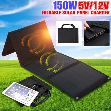 150W Foldable Dual USB Solar Mobile Device Charger