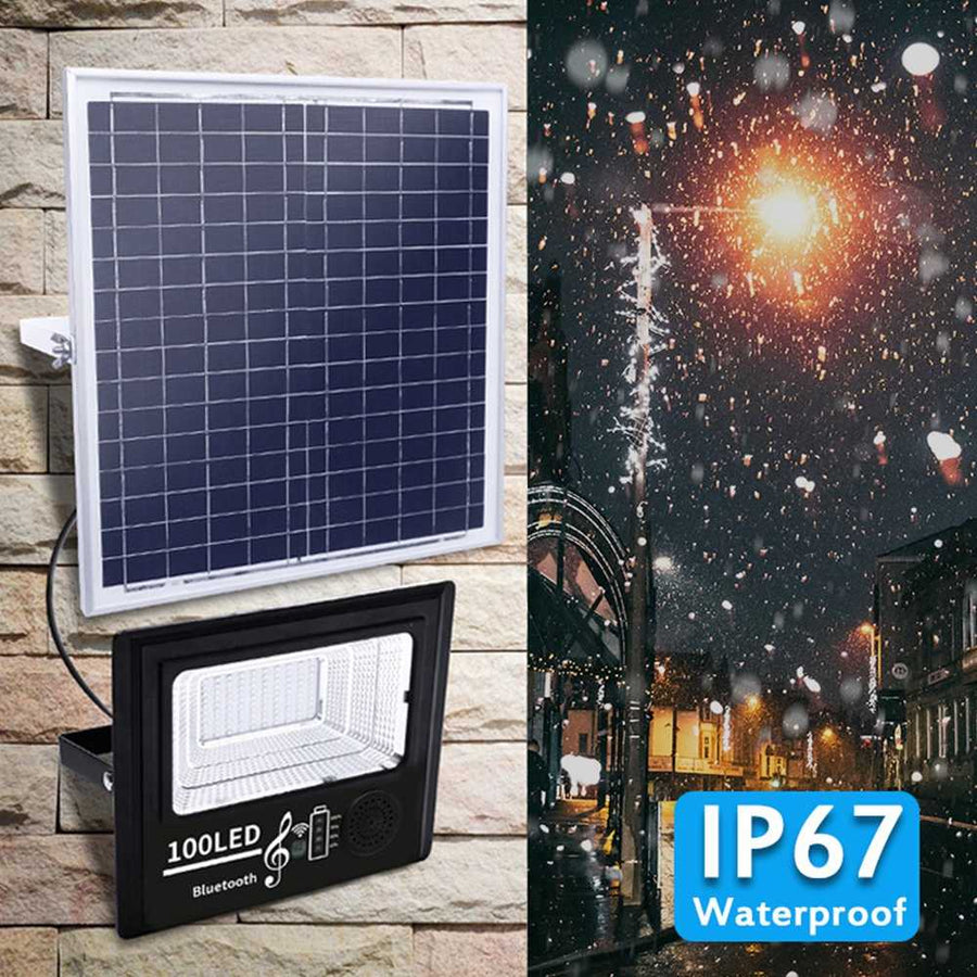 200W Solar PoweredbLED Music Flood Light with Remote Control