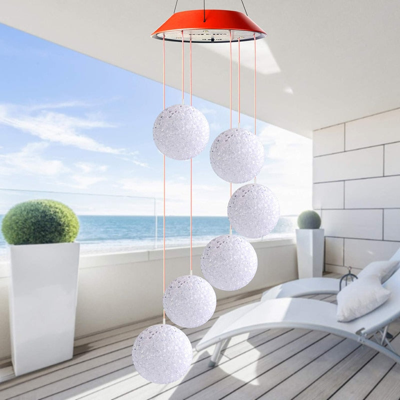 Solar Powered LED Mini-Globe Wind Chime